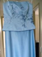 Beautiful Strapless Light Blue Flower Embroided Dress By Mr K