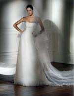 New 'Denver' Strapless Pleated Tulle Gown by Pronovias